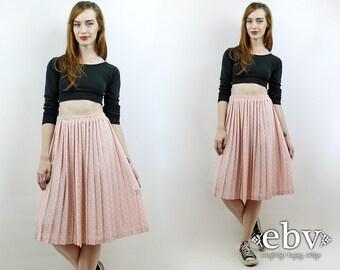 High Waisted Skirt Polka Dot Skirt Pink Skirt Midi Skirt Pleated Skirt Vintage 90s High Waisted Pleated Pink Polka Dot Knee Skirt S M L