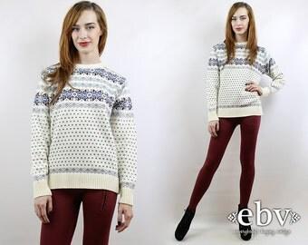 Snowflake Sweater Vintage 80s Cream Snowflake Jumper S M L Ski Sweater Hipster Sweater Vintage Knit Vintage Sweater Vintage Jumper