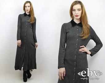 Vintage 90s Grey Maxi Dress S Grey Dress Gray Dress 90s Grunge Dress 90s Dress 90s Maxi Dress Longsleeve Dress