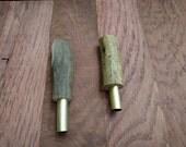 2 antler pen blanks, drilled and tubed for bolt action pen