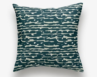 Modern Pillow Cover - Navy Blue Brush Stroke Pattern - 18x18 Square - Linen/Cotton - Button Closure