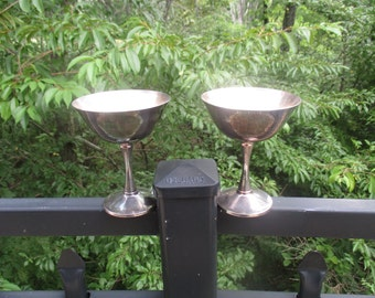 Two Vintage Silver Plated Champagne, Wine, Sherbert Goblets by The Salem China Company