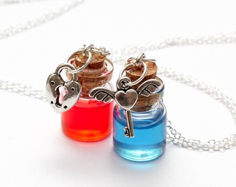 Friendship Necklaces - Health and Mana Potions - gamer red and blue potion bottle pendants with heart key and heart lock charms
