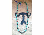 Chalk Turquoise & Rustic Red, Brown gemstone beaded necklace