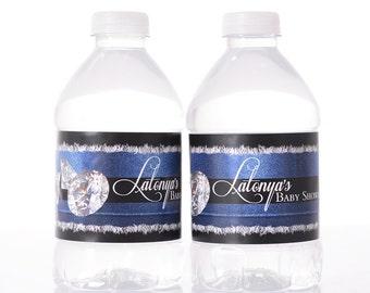 Denim & Diamonds Baby Shower Decorations - 25 Baby Shower Water Bottle Labels, Birthday, etc - Waterproof and self stick - Fancy Baby Shower
