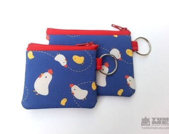 Cute Chickens Key Chain Zipper Pouches 2 sizes (Made to Order)