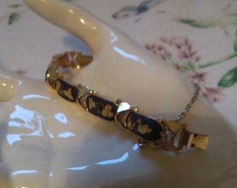 Swan and Leaf Black and Gold Link Bracelet