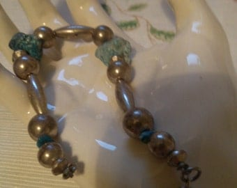 Turquoise and Silver Bracelet, matching Necklace Sold Seprately