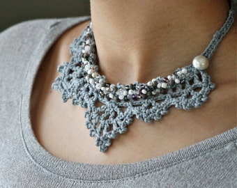 PDF PATTERN for Crochet Lace Necklace