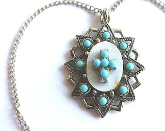 TURQUOISE & MOP Medallion Cross, Beaded Silvertone Cross Pendant with Neck Chain, Silver Turquoise Cross Necklace, Turquoise Cross, Vintage