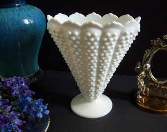 Fenton Hobnail Milk Glass Vase - Hobnail Milk Glass Fan Vase - Rare Fenton Hobnail Vase - Fenton Crown Top Hobnail White Milk Glass Fan Vase