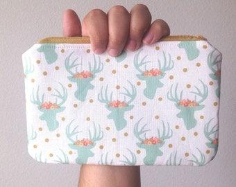 Modern Deer with Floral Crowns Zipper Bag