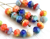 Bright beads mix, Czech glass spacers, donuts - Blue, Orange, Yellow, pressed fancy beads - 6mm - 30Pc - 2376