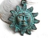 Celestial Sun pendant, Verdigris patina, Greek casting, bohemian pendant bead, 29mm, Lead Free - F375