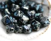Black bicone beads, Picasso travertin Czech Glass beads, black bicones - 6mm - 30Pc - 2598