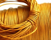 1mm Round Natural Leather cord - Yellow Gold - 10 feet, LC049