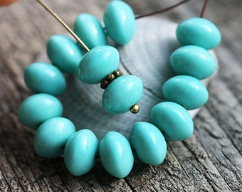 Turquoise rondelle beads, donuts, Czech glass beads, turquoise beads, rondels - 6x9mm - 20pc - 1105