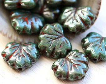 Picasso leaf beads, Turquoise green Czech glass leaves, Maple leaf, picasso beads - 11x13mm - 10Pc - 0607