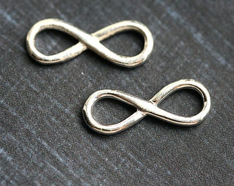 Silver Infinity charm, Sterling silver Infinity connector link, 925 silver, 18x7mm - 1pc - F361