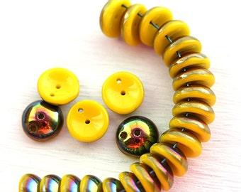 2 Hole Piggy beads, Yellow Vitrail czech glass beads, Two hole Beads - 4x8mm - 25Pc - 2631