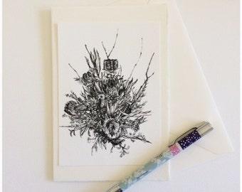 Australian Native Flower, Fine Art Luxury Greeting Card,  Blank Card, Kylie Fogarty Art