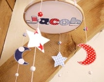 boys Cot mobile Moon and stars baby cot, crib or ceiling Mobile. Nursery decor. Handmade in the UK. New baby gift Nursery decoration
