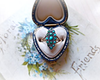 Antique Victorian 9ct Gold & Turquoise Ring