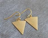 Gold Triangle Earrings .. long earrings, geometric earrings, geometric jewellery, arrow earrings, gold earrings