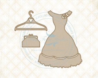 Blue Fern Studios Laser Cut Chipboard Charlotte's Dress Set, Dress Form