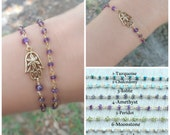 Hamsa hand, Gemstone Bracelet, hamsa bracelet. Rosary bracelet, gold bracelet, Yoga bracelet, Protection bracelet, Reiki bracelet, hand