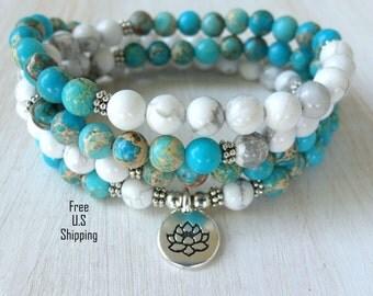 Howlite Jasper Mala, 108 beads, Mala Bracelet or Necklace, Reiki, Rosary,Prayer beads, Gemstone, wrist mala, Lotus, buddha, ohm, om, Jasper