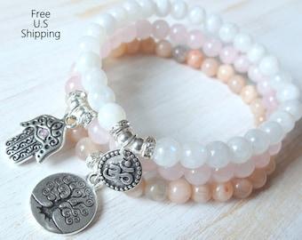 Grade A, Moonstone, set of 3, mala bracelets, Yoga bracelets, bracelet set, Reiki Charged, stacking malas, Moonstone bracelet, Malas
