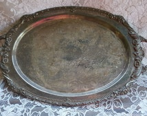 Vintage Silver Tray, Serving Tray, Old Rustic Tarnished Tray, Rustic Decor, French Country, Shabby Decor, Silver Tray