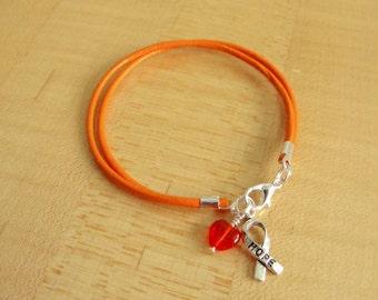 Orange Leather Awareness Bracelet -  DVT, Kidney cancer, Leukemia, Multiple Sclerosis, RSD, Skin Cancer, Nerve Pain and others