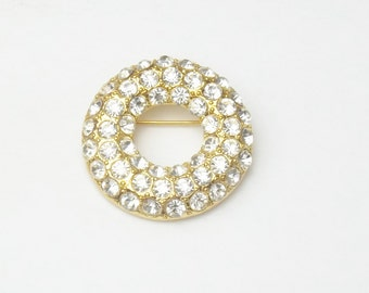 Vintage Brilliant Rhinestone Gold Wreath Style Costume Jewelry Brooch Pin on Etsy