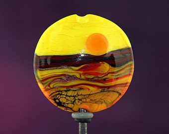 Hot Landscape Handmade Lampworked Glass Bead OOAK Yellow Orange Black Red Lentil Focal Lampwork