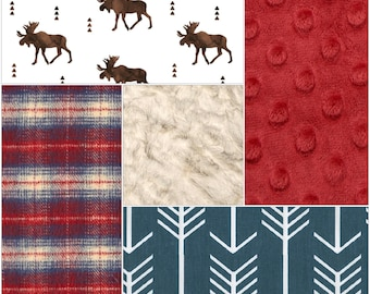 Rustic Baby Boy Crib Bedding-Brown Moose, Navy Arrow, Lodge Red Navy Plaid, Crimson Minky, and Ivory Crushed Minky Crib Bedding Ensemble