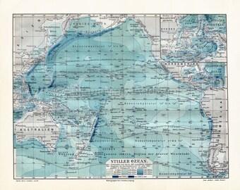 INSTANT DOWNLOAD Pacific Ocean Depths Antique Print Repro 8x10 400 DPI