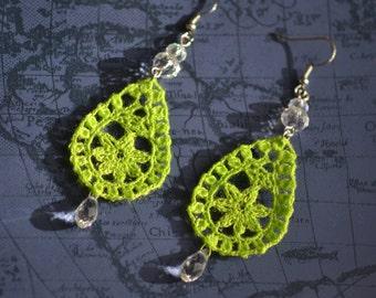 Neon green crochet lace earrings, Dangle & Drop Earrings, lace green earrings with crystal tear drop