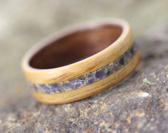 Olivewood Ring featuring Sodalite Stone Inlay and Black Walnut Liner - Bentwood Ring - And We Plant A Tree:)