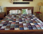 Full-Size Patchwork Rag Quilt - Made to Order, Rustic Quilt, Western Quilt, Shabby Quilt, Cottage Quilt, Primitive Quilt