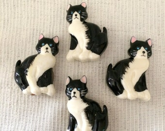 Vintage Black & White Button Covers, Set of 4