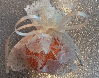 10 Gift Bags Sachets Ivory Wedding Lace 4x4 Party Favor Gift Bags Satin Ties Unlined