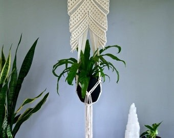 "Sale 20% Off Macrame Plant Hanger - 60"" Knotted Natural White Cotton Rope 16"" Wooden Dowel - Modern Indoor Hanging Planter - READY TO SHIP"