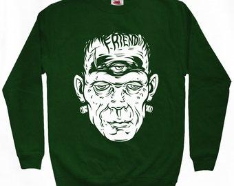 Friend Frank Sweatshirt - Men S M L XL 2x 3x - Crewneck, Frankenstein, Monster, Horror, Halloween - 2 Colors