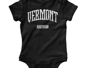 Baby Vermont Represent Romper - Infant One Piece - NB 6m 12m 18m 24m - Vermont Baby, Burlington, Montpelier, Brattleboro, State  - 3 Colors