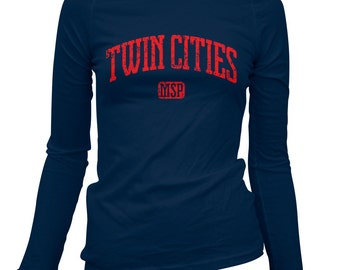 Women's Twin Cities Long Sleeve Tee - S M L XL 2x - Ladies' Twin Cities T-shirt, Minneapolis, St. Paul, Minnesota, MSP - 4 Colors