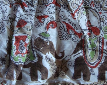 VINTAGE SILK SCARF ali baba and 40 thieves elephants 1960's