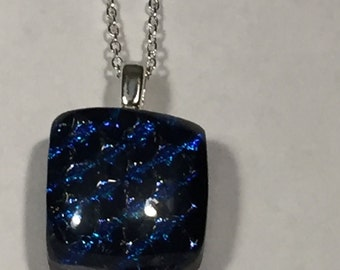 Dichroic Glass Necklace, Sterling Chain
