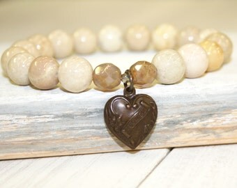 Valentine Gift, Beige Stretch Bracelet, Riverstone, 10mm, Heart Charm, Cream stone bracelet, Neutral stacking bracelet, Gemstone Bracelet
